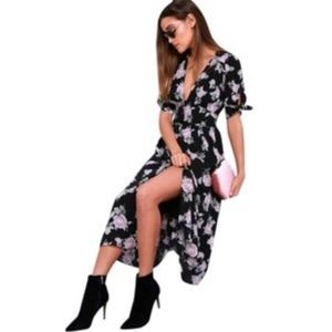 Free People Black Combo Floral Dress S